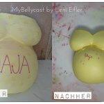 Babybauchabdruck Köln Gipsabdruck Schwangerschaft gelb Vorher Nachher